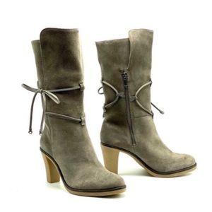 JOHNSTON & MURPHY- Jeanie Suede Wrap Heeled boots